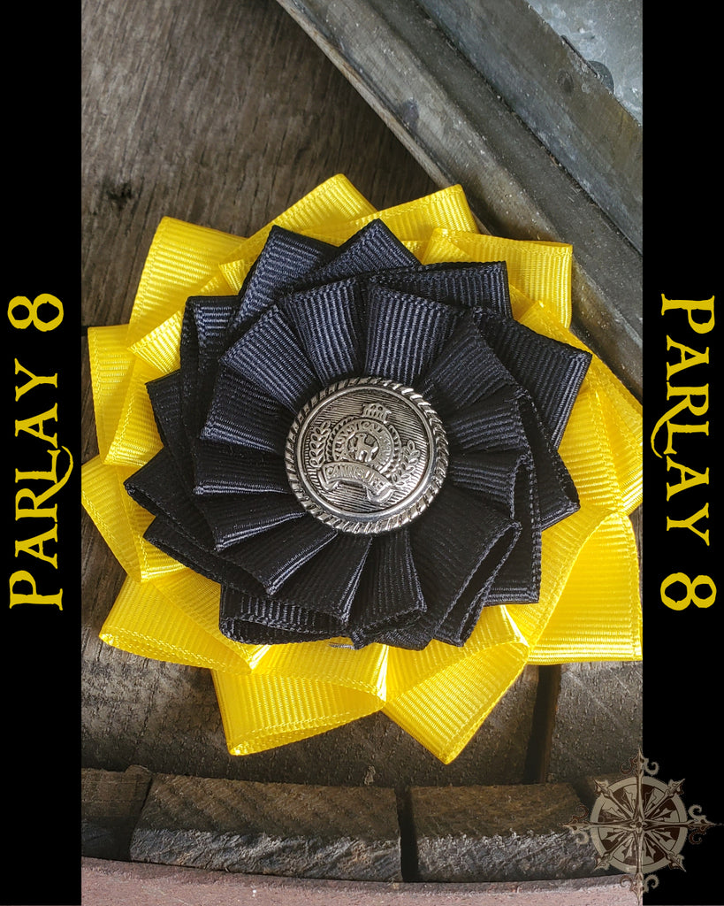 18th century style Yellow and Black Ribbon Cockade