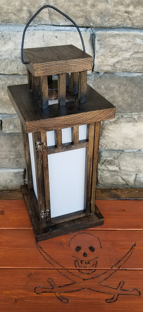 Hanging Dark Oak and frosted window candle lantern