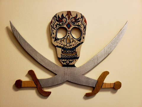 Wood Day of the Dead Jolly Roger Wall Decor