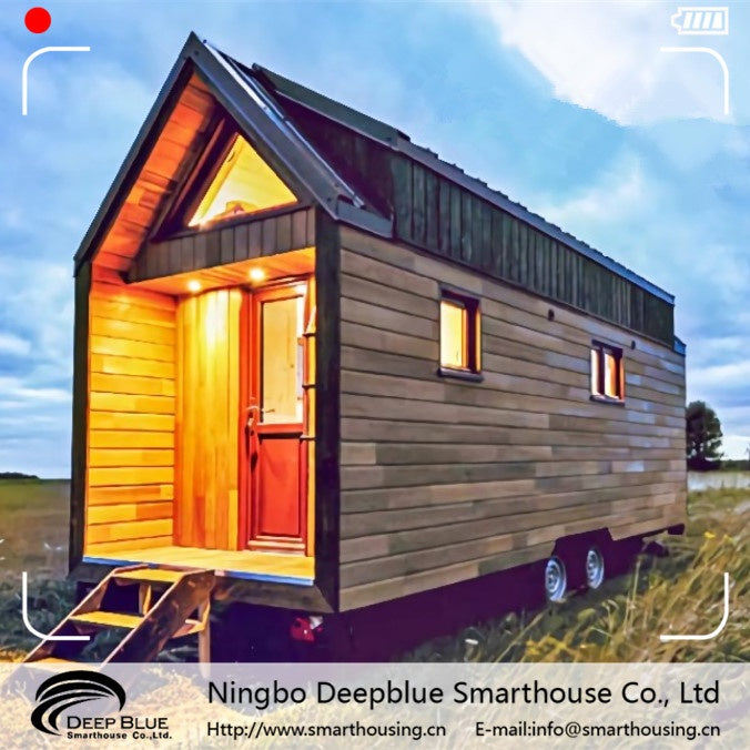 Deepblue Smarthouse New Zealand Luxury Prefab Steel frame mobile tiny house trailer on wheels park home Fire Resistance for sale