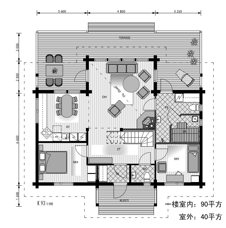wood material building fast installation two floors log material prefab houses for a big family