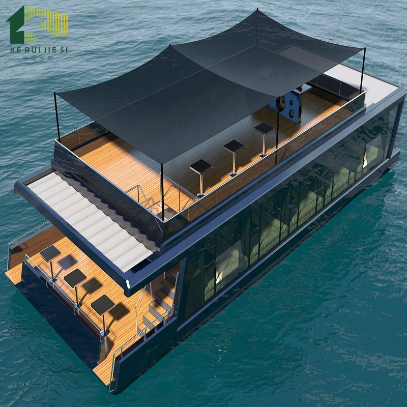 low cost designed floating boat prefab container restaurant hotel house on water