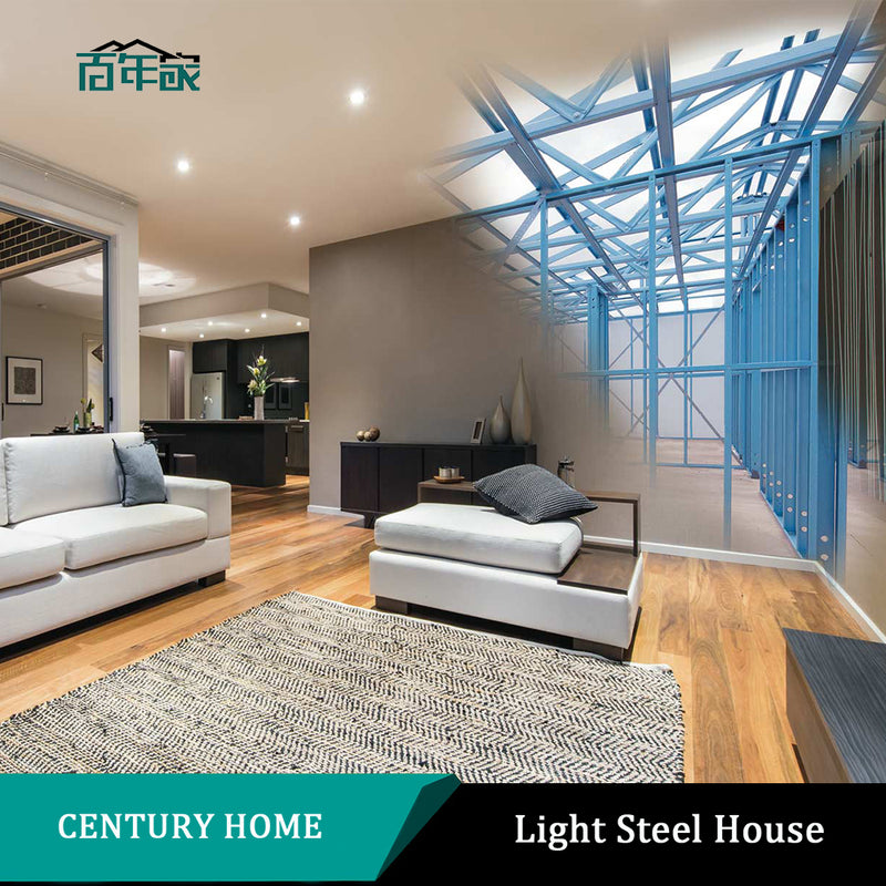 two storey modern prefab light steel house, luxurious prefabricated villa