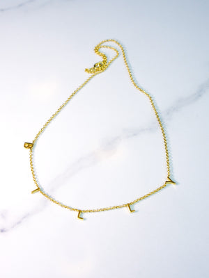 BOYFRIEND COLLECTION - BILLY name in solid 14k Gold loose choker