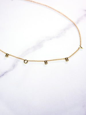 BOYFRIEND COLLECTION - BOBBY name in solid 14k Gold loose choker