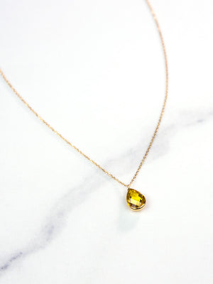 Tear Drop Gold Necklace with Citrine