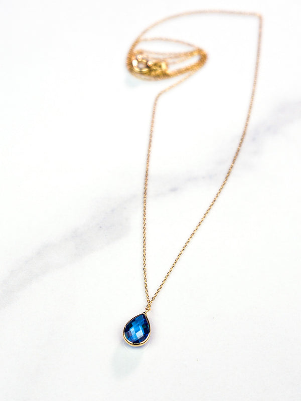Tear Drop Gold Necklace with Blue Zircon