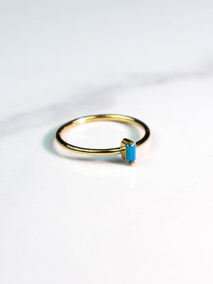 Mini Turquoise Stone on 14k Gold Band