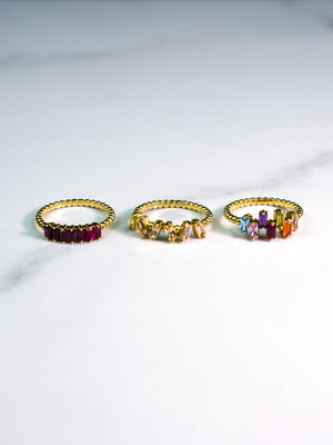 Rain-bows - 18K Gold Ring with Rainbow Stones