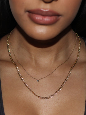 Boxy Necklace 14k Gold with Diamond