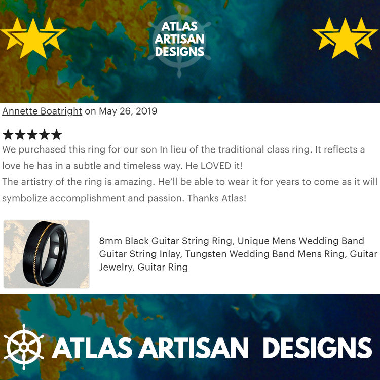 Deer Antler Ring Mens Wedding Band with Beveled Edges, Tungsten Wedding Band Mens Ring, 8mm Black Tungsten Ring for Him, Unique Wedding Ring - Atlas Artisan Designs