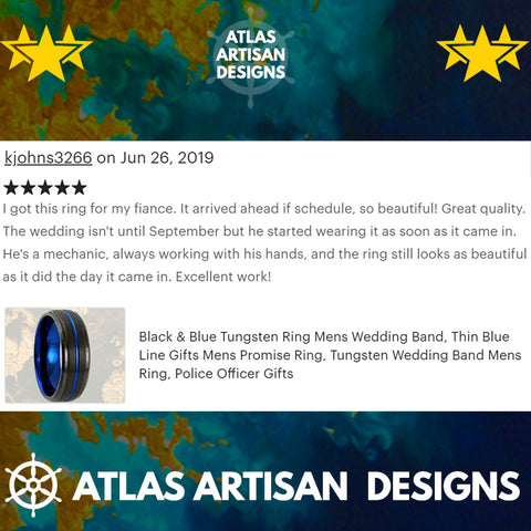 Image of Unique Mens Wedding Band 6mm Tungsten Wedding Band Mens Ring, Blue Tungsten Ring, Thin Blue Line Gifts Police Officer Gift Thin Wedding Ring - Atlas Artisan Designs