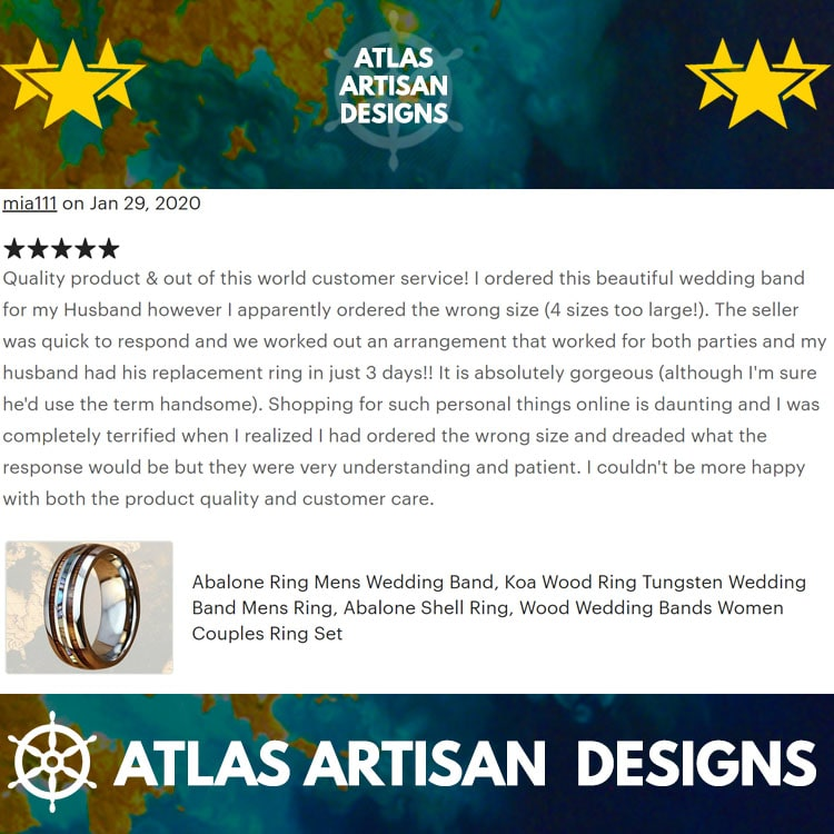 8mm Koa Wood Ring Mens Wedding Band Abalone Ring, Tungsten Wedding Band Mens Ring Abalone Shell Ring Unique Wedding Bands Women Black Ring - Atlas Artisan Designs
