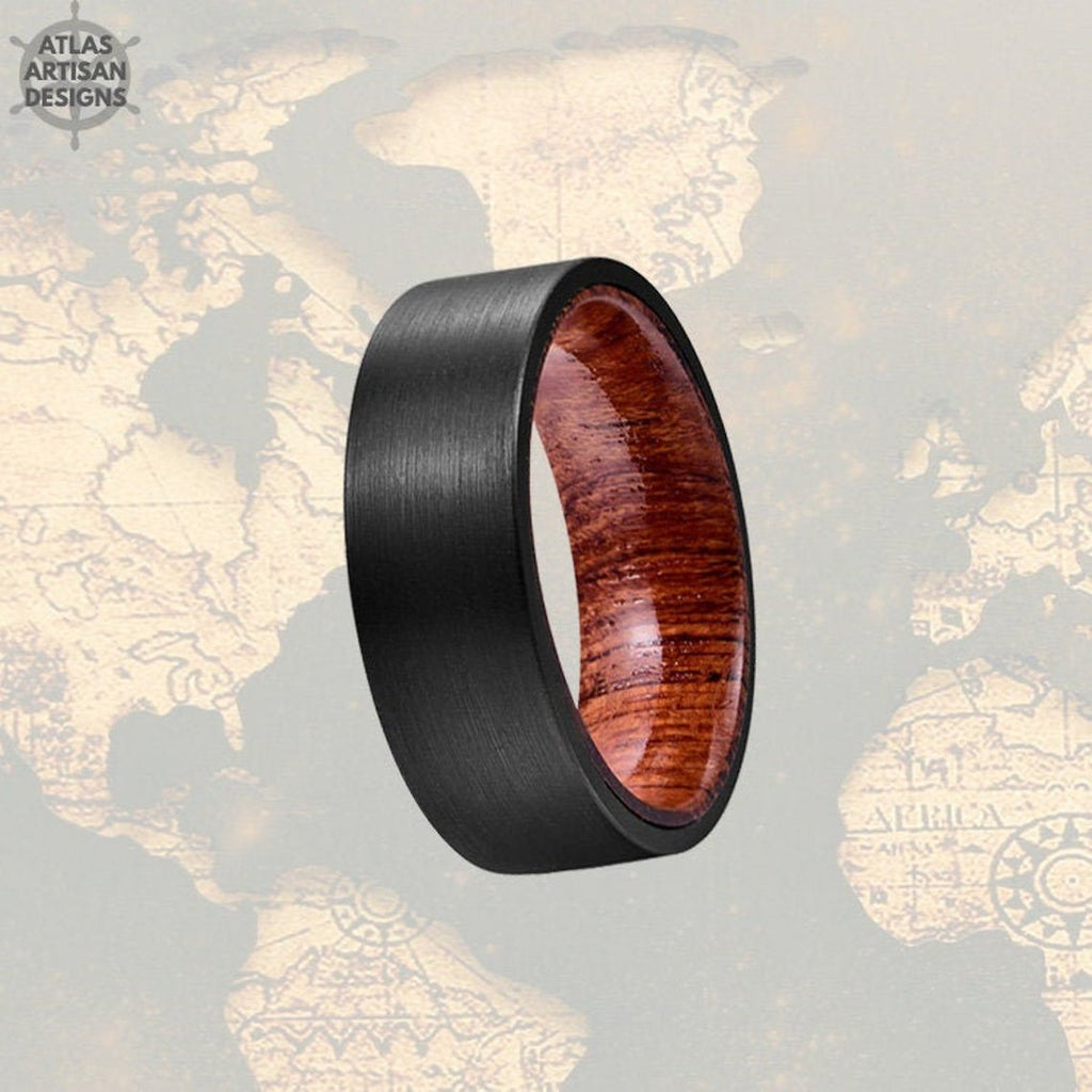 Sandal Wood Ring Mens Wedding Band Tungsten Ring, Pipe Cut Wood Wedding Band Mens Ring, 8mm Wood Inlay Ring Unique Wedding Ring Wooden Ring - Atlas Artisan Designs
