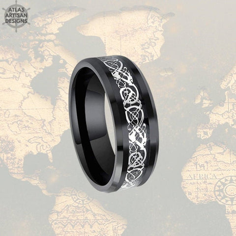 Image of 8mm Black Viking Wedding Ring Mens Wedding Band Tungsten Ring, Celtic Wedding Ring - Atlas Artisan Designs