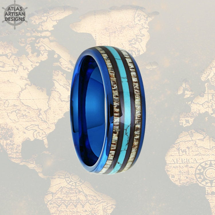Mens Turquoise Ring with Deer Antler Inlay, Blue Tungsten Mens Ring Unique Nature Ring - Atlas Artisan Designs