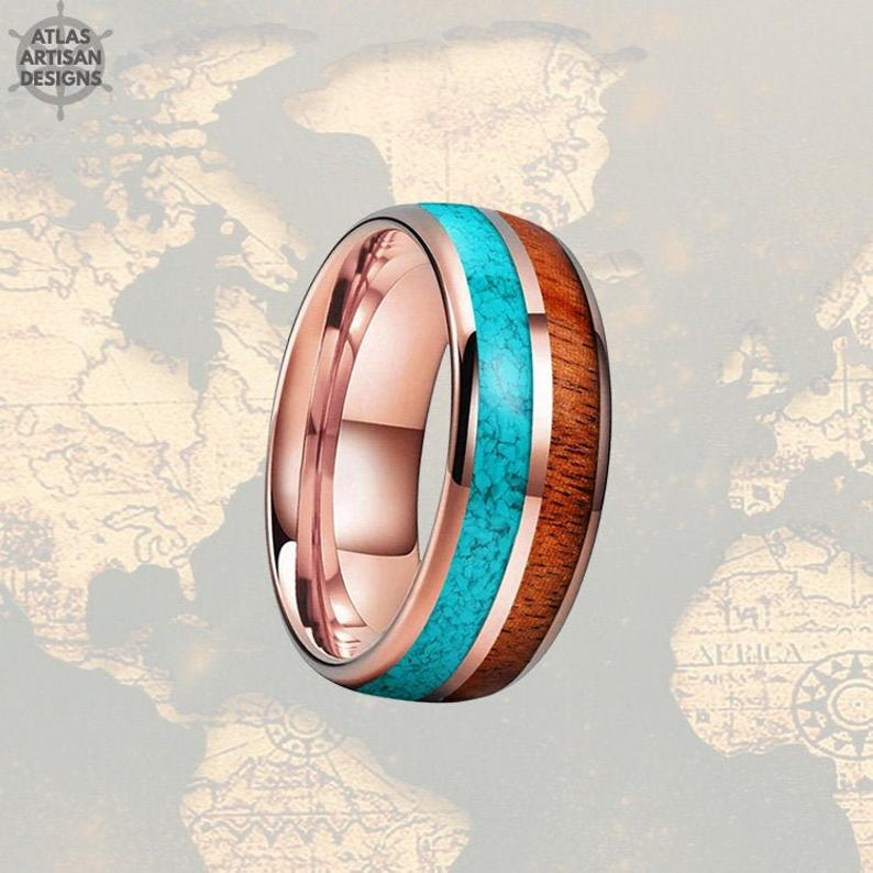 Mens Turquoise Ring Rose Gold Wedding Band Wood Ring - Koa Wood Ring