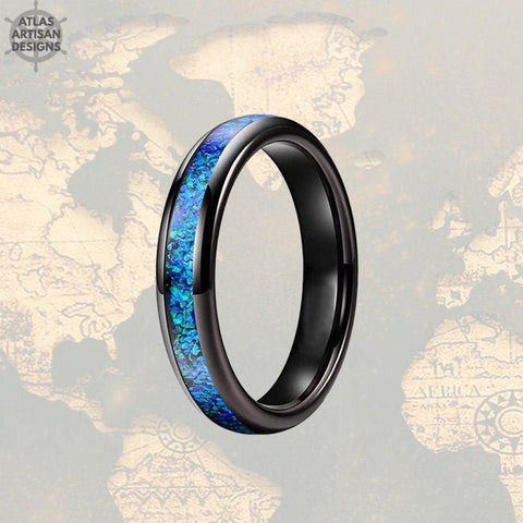 Image of 4mm Black Tungsten Ring Blue Opal Wedding Band Womens Ring