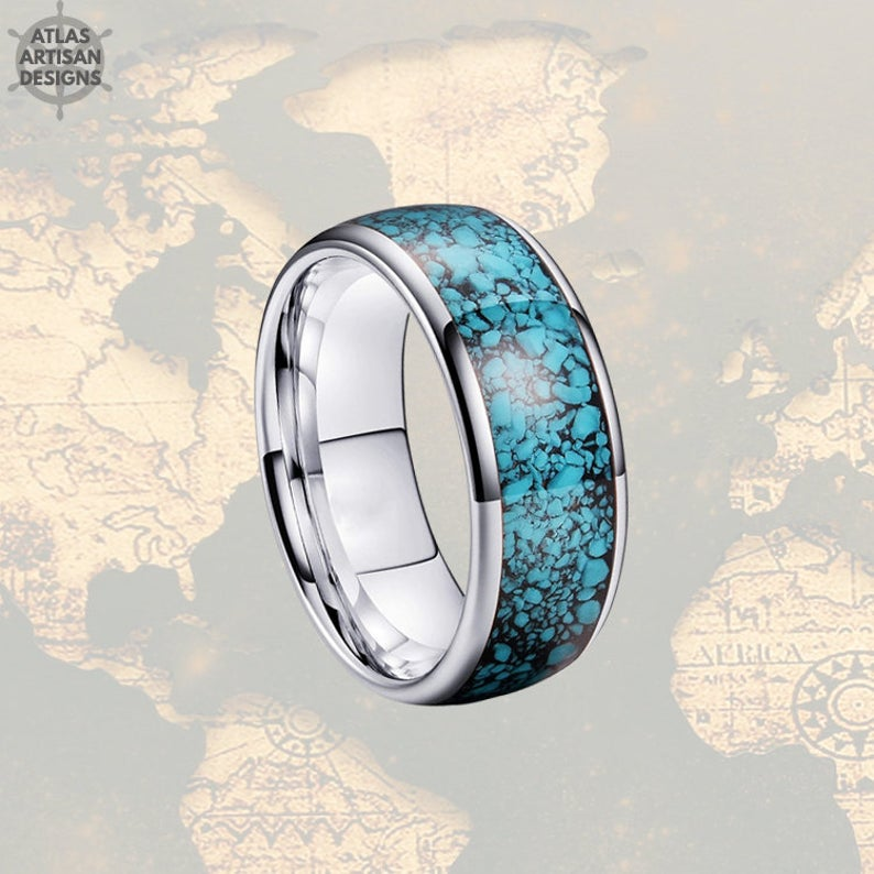 8mm Silver Mens Turquoise Ring, Unique Nature Ring, Tungsten Wedding Band - Atlas Artisan Designs