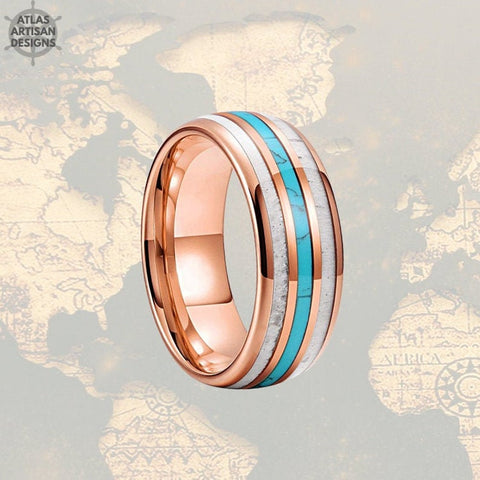 Image of 8mm 18K Rose Gold Mens Wedding Band Deer Antler and Turquoise Tungsten Ring