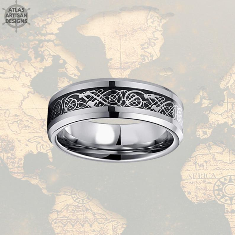 Thin Celtic Wedding Ring 6mm Unique Wedding Band Womens Ring, Carbon Fiber Ring Mens Wedding Band Celtic Ring Couples Rings Mens Viking Ring - Atlas Artisan Designs