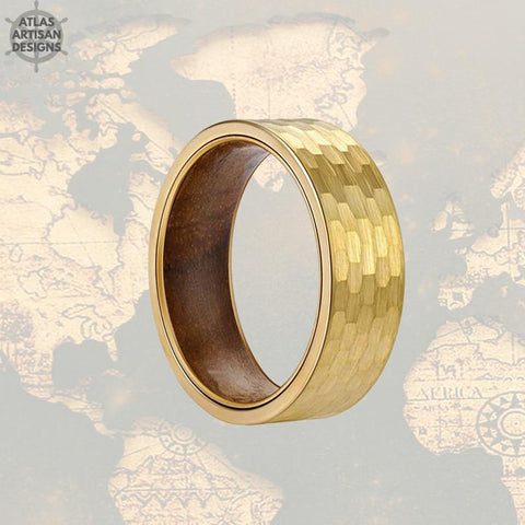 14K Gold Ring Mens Wedding Band Hammered Ring Koa Wood Rings for Men - Atlas Artisan Designs