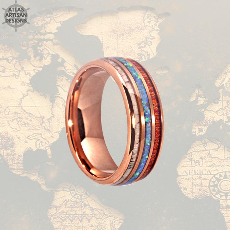 18K Rose Gold Ring Mens Wedding Band, Deer Antler Ring with Opal Inlay, Mens Wooden Ring - Atlas Artisan Designs