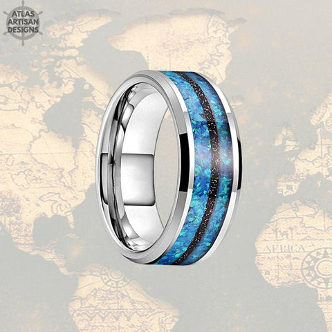 Image of 8mm Black Meteorite & Blue Opal Ring Tungsten Wedding Band Meteorite Ring Mens Wedding Band Tungsten Ring, Meteorite Wedding Rings for Men - Atlas Artisan Designs