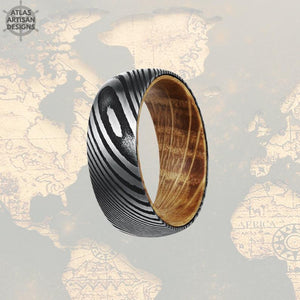 Damascus Whiskey Barrel Ring, 8mm Damascus Steel Ring Whiskey Wood Ring Mens Wedding Band Damascus Ring - Atlas Artisan Designs