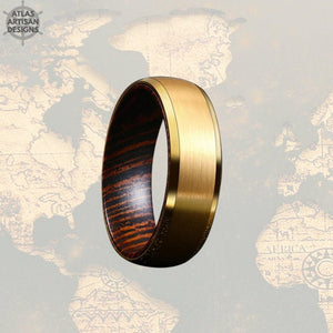 14K Gold Wedding Band Mens Ring with Beveled Edges, Wenge Wood Ring Mens Wedding Band Tungsten Ring, Unique Gold Ring - Atlas Artisan Designs