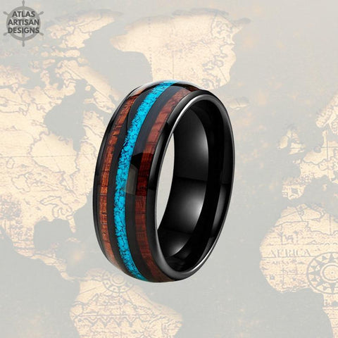 Image of Turquoise Ring Mens Wedding Band Black Tungsten Ring - Koa Wood Ring