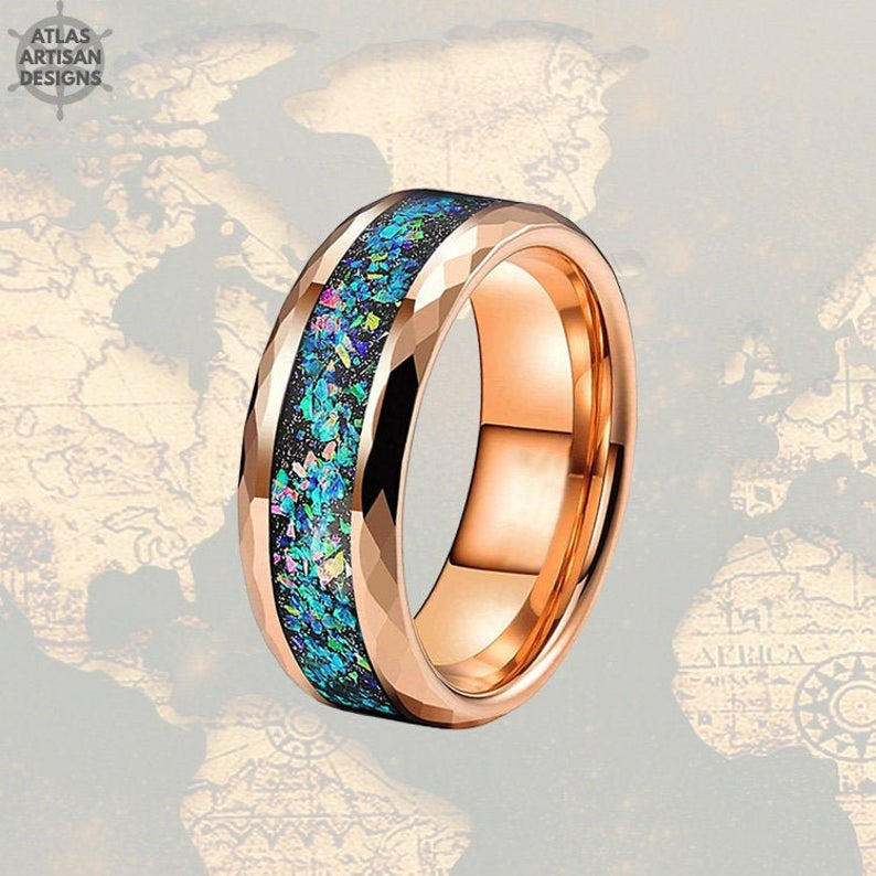Rose Gold Mens Wedding Band  - Fire Opal Hammered Tungsten Ring
