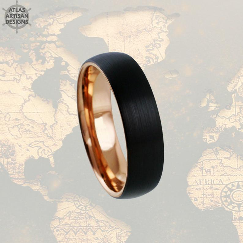 18K Rose Gold Wedding Bands Womens Ring Thin Rose Gold Ring Mens Wedding Band