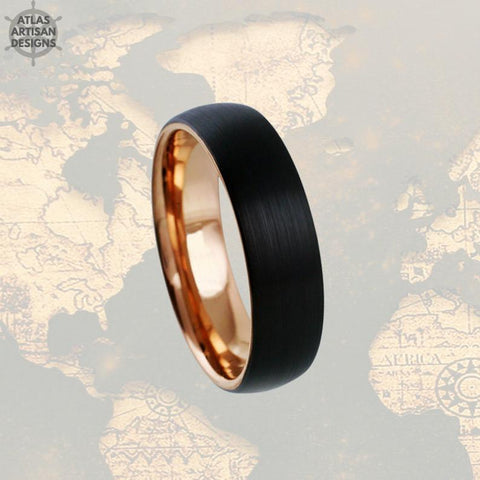 Image of 18K Rose Gold Wedding Bands Womens Ring Thin Rose Gold Ring Mens Wedding Band