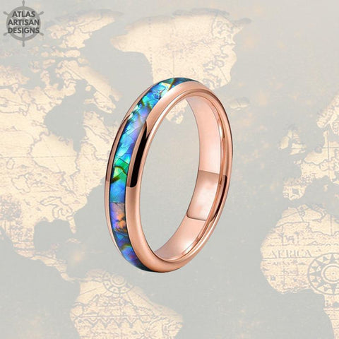 4mm Rose Gold Ring Tungsten Wedding Bands - Tropical Abalone Shell Women Ring - Atlas Artisan Designs