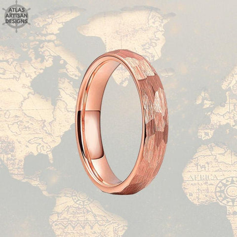 Image of 4mm Hammered Ring Rose Gold Wedding Band Tungsten Ring - Faceted Couples Ring