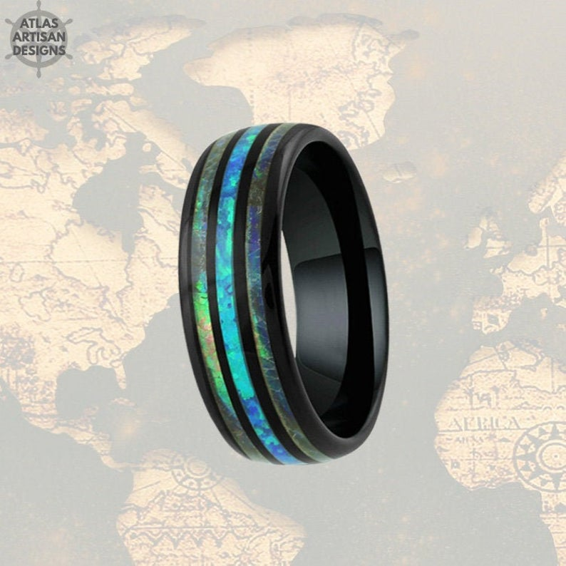 Black Opal Ring Mens Wedding Band Tungsten Ring - Abalone Ring