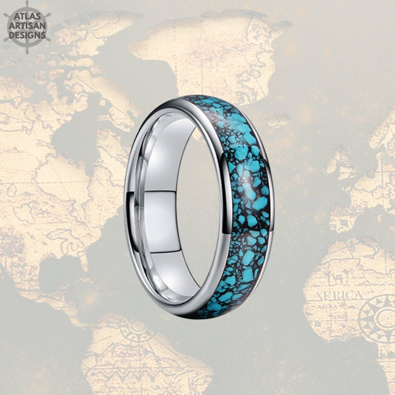 Mens Turquoise Ring, 6mm Silver Turquoise Wedding Bands Womens Ring, Thin Tungsten Ring - Atlas Artisan Designs