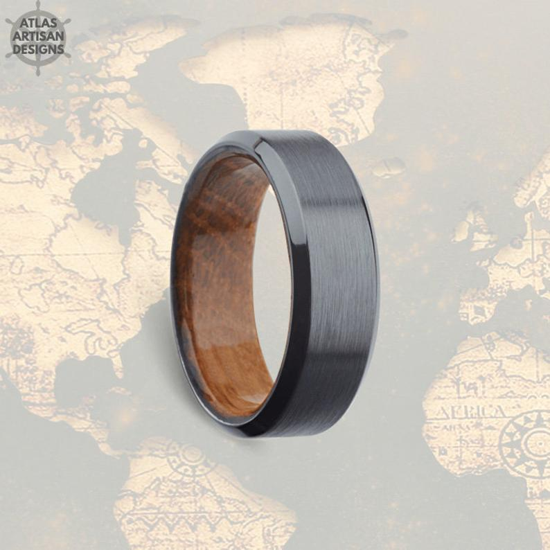 Gunmetal Wood Wedding Band Mens Ring, Whiskey Barrel Ring Mens Wedding Band Wood Ring, 8mm Tungsten Ring Whisky Wood Inlay Ring Wooden Ring - Atlas Artisan Designs
