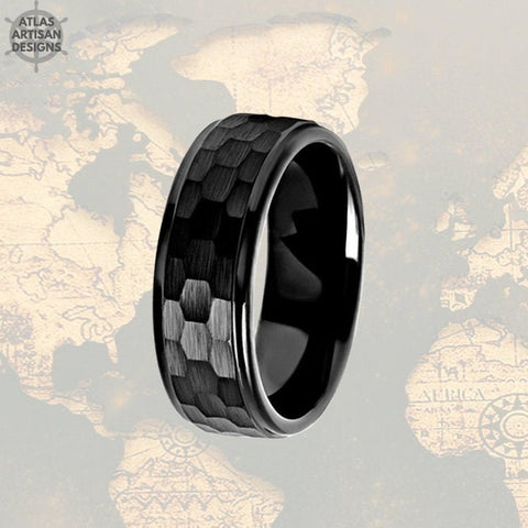 Image of Black Hammered Ring Mens Wedding Band Tungsten Ring with Step Edges, Viking Wedding Ring, Mens Black Ring - Atlas Artisan Designs