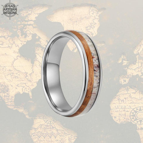 Image of Thin Deer Antler Ring Mens Wedding Band Tungsten Ring Whiskey Barrel Ring