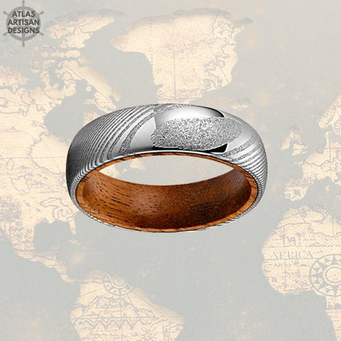 6mm Damascus Whiskey Barrel Ring, Silver Damascus Ring Whiskey Wood Ring Mens Wedding Band Wooden Ring - Atlas Artisan Designs