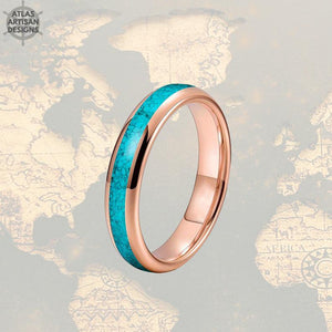 Thin 14K Rose Gold Turquoise Ring Mens Wedding Band Tungsten Ring - Atlas Artisan Designs