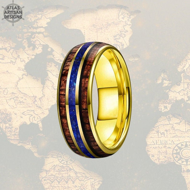 Lapis Lazuli Ring Mens Wedding Band Tungsten Ring
