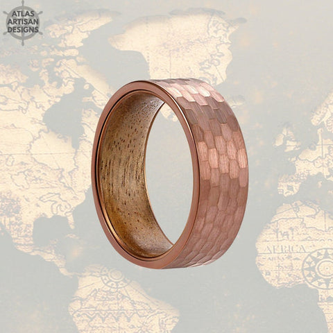 Image of Koa Wood Ring  Hammered Coffee Brown Tungsten Mens Wedding Band - Atlas Artisan Designs