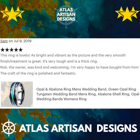 Green Opal Wedding Band Mens Ring, Blue Opal Ring Mens Wedding Band, Tungsten Wedding Bands Womens Abalone Shell Ring, Unique Abalone Ring - Atlas Artisan Designs