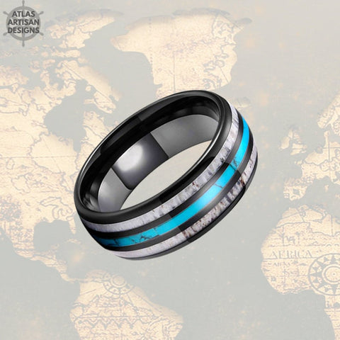 Deer Antler Ring Mens Wedding Band Tungsten Ring, Turquoise Ring with Antler Inlay, Tungsten Nature Ring - Atlas Artisan Designs