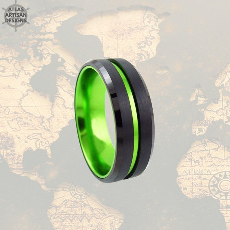 Thin Tungsten Ring Womens Wedding Band Black Ring with Green Groove - Atlas Artisan Designs