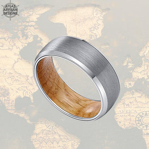 Beveled Silver Whiskey Barrel Ring Mens Wedding Band Wood Ring, Tungsten Ring Wood Wedding Band Mens Ring, Unique Wood Promise Ring for Him