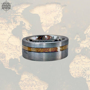 Silver Whiskey Barrel Ring, 8mm Mens Wedding Band Tungsten Ring Whiskey Ring Wood Wedding Band